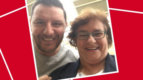 Gloria was delighted to meet Manu!